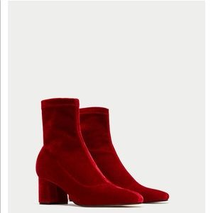 Block Heel Red Velvet Ankle Boots, NWT